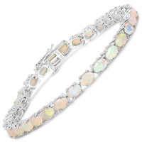 7.20 Carat Genuine Ethiopian Opal .925 Sterling Silver Bracelet