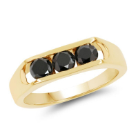 14K Yellow Gold Plated 0.99 Carat Genuine Black Diamond .925 Sterling Silver Ring