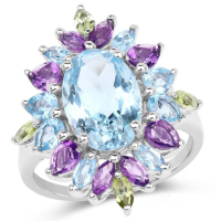 6.83 Carat Genuine Multi Stones .925 Sterling Silver Ring