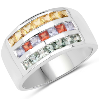 1.69 Carat Genuine Multi Sapphire .925 Sterling Silver Ring