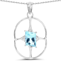 5.26 Carat Genuine Swiss Blue Topaz .925 Sterling Silver Pendant