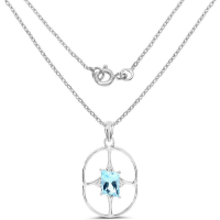 5.26 Carat Genuine Swiss Blue Topaz .925 Sterling Silver Pendant at PristineAuction.com