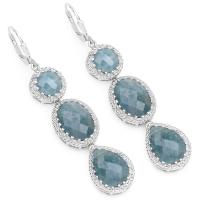 21.32 Carat Genuine Milky Aquamarine .925 Sterling Silver Earrings