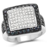 0.64 Carat Genuine White Diamond and Blue Diamond .925 Sterling Silver Ring
