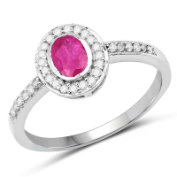 0.65 Carat Genuine Ruby and White Diamond 10K White Gold Ring