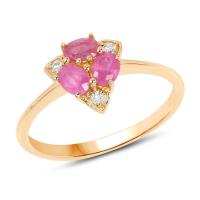 0.71 Carat Genuine Ruby and White Diamond 14K Yellow Gold Ring