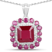 8.48 Carat Glass Filled Ruby & White Topaz .925 Sterling Silver Pendant