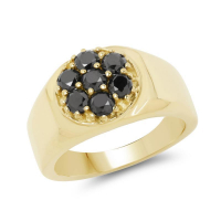 14K Yellow Gold Plated 0.98 Carat Genuine Black Diamond .925 Sterling Silver Ring