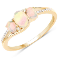 0.56 Carat Genuine Ethiopian Opal and White Diamond 14K Yellow Gold Ring