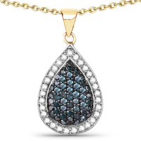 14K Yellow Gold Plated 0.81 Carat Genuine Blue Diamond and White Diamond .925 Sterling Silver Pendant