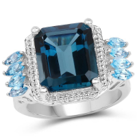 8.17 Carat Genuine London Blue Topaz and Swiss Blue Topaz .925 Sterling Silver Ring
