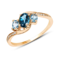0.99 Carat Genuine London Blue Topaz, Swiss Blue Topaz and White Diamond 14K Yellow Gold Ring
