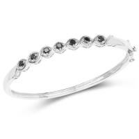 1.03 Carat Genuine Black Diamond .925 Sterling Silver Bangle