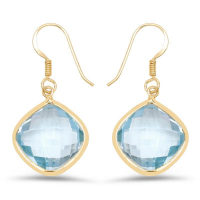14K Yellow Gold Plated 29.00 Carat Genuine Blue Topaz .925 Sterling Silver Earrings