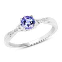 0.51 Carat Genuine Tanzanite and White Diamond 14K White Gold Ring