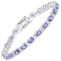 9.68 Carat Genuine Tanzanite .925 Sterling Silver Bracelet