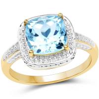 2.30 Carat Genuine Blue Topaz 10K Yellow Gold Ring