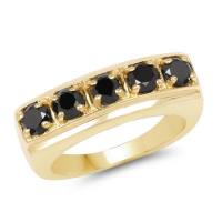 14K Yellow Gold Plated 1.25 Carat Genuine Black Diamond .925 Sterling Silver Ring