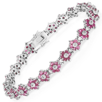 7.00 Carat Genuine Ruby & White Diamond .925 Sterling Silver Bracelet at PristineAuction.com