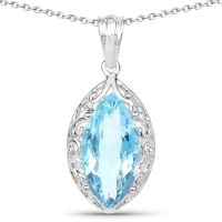 8.22 Carat Genuine Swiss Blue Topaz .925 Sterling Silver Pendant