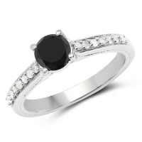 1.54 Carat Genuine Black Diamond and White Diamond .925 Sterling Silver Ring