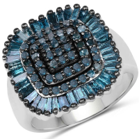 1.34 Carat Genuine Blue Diamond .925 Sterling Silver Ring