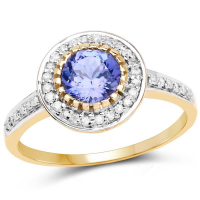 1.14 Carat Genuine Tanzanite & White Diamond 10K Yellow Gold Ring