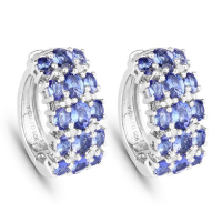 6.94 Carat Genuine Tanzanite and White Diamond .925 Sterling Silver Earrings