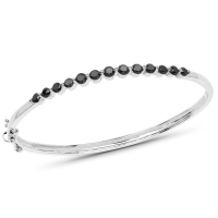1.96 Carat Genuine Black Diamond .925 Sterling Silver Bangle at PristineAuction.com