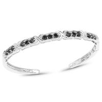 1.88 Carat Genuine Black Diamond .925 Sterling Silver Bangle