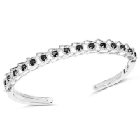 1.88 Carat Genuine Black Diamond .925 Sterling Silver Bangle at PristineAuction.com