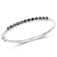 2.10 Carat Genuine Black Diamond .925 Sterling Silver Bangle at PristineAuction.com