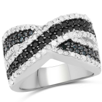 """1.56 Carat Genuine Blue Diamond, White Diamond and Black Diamond .925 Sterling Silver Ring"""