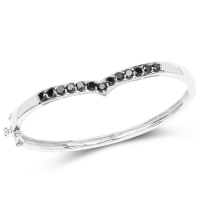 2.28 Carat Genuine Black Diamond .925 Sterling Silver Bangle at PristineAuction.com