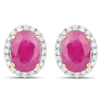 2.06 Carat Genuine Ruby and White Diamond 14K Yellow Gold Earrings