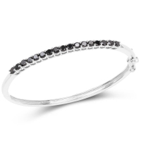 2.50 Carat Genuine Black Diamond .925 Sterling Silver Bangle