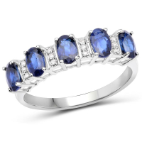 1.55 Carat Genuine Blue Sapphire and White Diamond 14K White Gold Ring