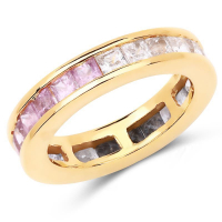 14K Yellow Gold Plated 4.32 Carat Genuine Multi Sapphire .925 Sterling Silver Ring at PristineAuction.com