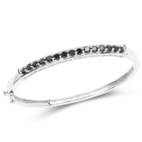 2.63 Carat Genuine Black Diamond .925 Sterling Silver Bangle