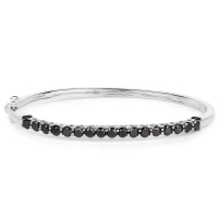 2.98 Carat Genuine Black Diamond .925 Sterling Silver Bangle at PristineAuction.com