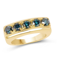14K Yellow Gold Plated 1.25 Carat Genuine Blue Diamond .925 Sterling Silver Ring