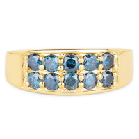 0.85 Carat Genuine Blue Diamond 10K Yellow Gold Ring at PristineAuction.com