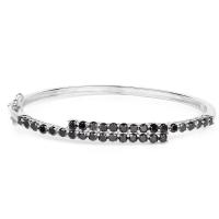 4.00 Carat Genuine Black Diamond .925 Sterling Silver Bangle at PristineAuction.com