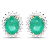 2.75 Carat Genuine Zambian Emerald & White Diamond 14K Yellow Gold Earrings