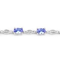 14K White Gold 3.54 Carat Genuine Tanzanite and White Diamond Bracelet at PristineAuction.com