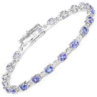 14K White Gold 3.63 Carat Genuine Tanzanite and White Diamond Bracelet