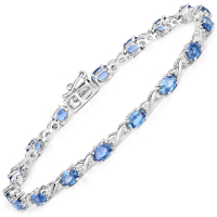 5.31 Carat Genuine Blue Sapphire and White Diamond 14K White Gold Bracelet at PristineAuction.com