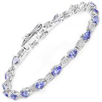 14K White Gold 3.89 Carat Genuine Tanzanite and White Diamond Bracelet