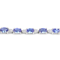 14K White Gold 5.70 Carat Genuine Tanzanite and White Diamond Bracelet at PristineAuction.com