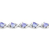 14K White Gold 4.47 Carat Genuine Tanzanite and White Diamond Bracelet at PristineAuction.com